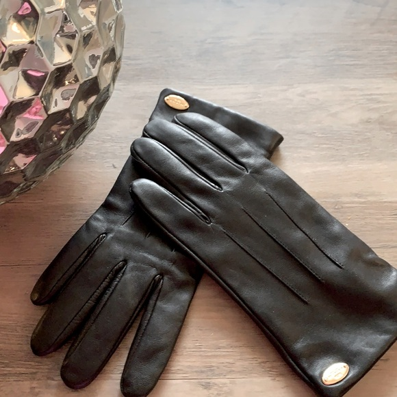 Coach black leather gloves size 7